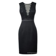 Kate Kasin Sexy Sleeveless Sheer Front V-Back Bodycon Pencil Sequins Black Short Evening Prom Party Dress KK001071-1