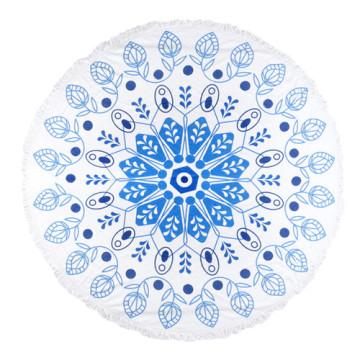 100% хлопок мягкий текстиль синий прохладный шаблон с кистями круглый пляжное полотенце РБТ-141