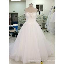 Nuevo vestido de boda nupcial de la muestra verdadera con el escote de Sparking