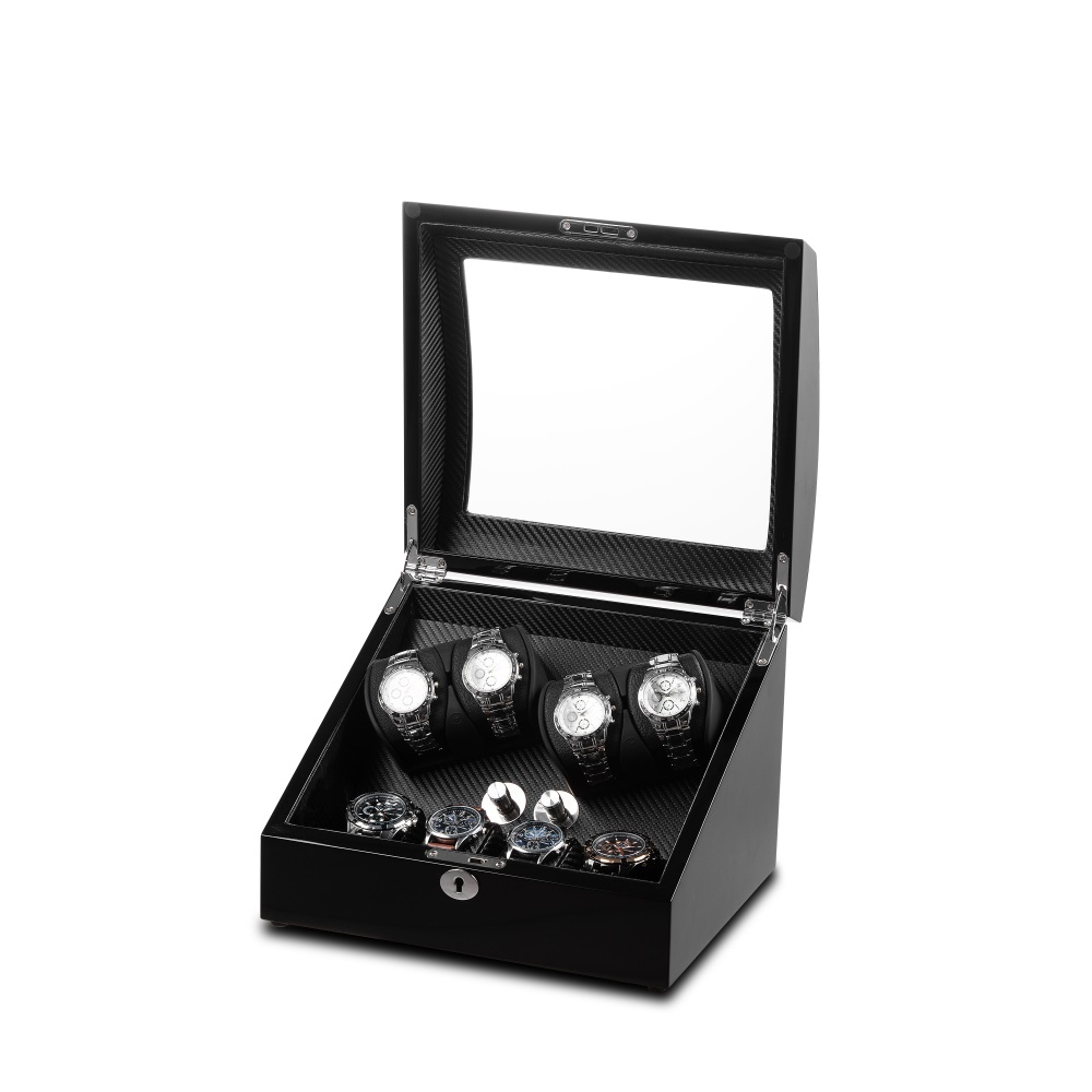 Black Finish watch winder with carbon fibre interior