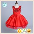 Bordado vermelho partido XMas vestidos meninas vestido de dança de alta classe vestidos vermelhos macios fofo ano novo vestido de aniversário das crianças