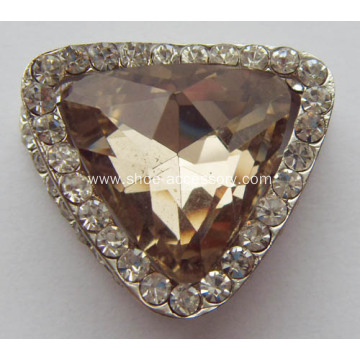 Triangle Metal Rhinestone Shoe Buckle with Coffee Crystal Glass Centered