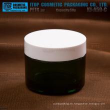 KJ-A50-C 50g venta en caliente de color personalizable translúcida grueso oscuro verde frasco de plástico
