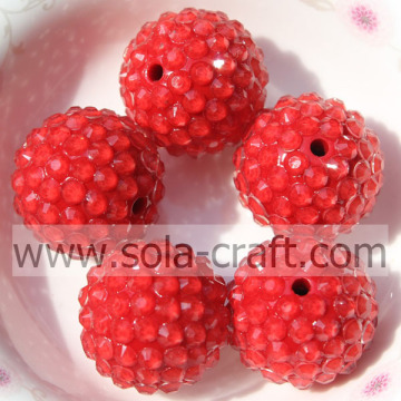 18*20MM Fantastic Clear Red Resin Rhinestone Round Beads For Bracelets