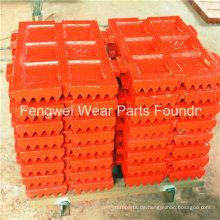 Mn13cr2, Mn18cr2 OEM feste oder schwenkbare Backenplatte für Metso Brecherso