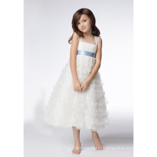 A-line Wide Straps Tea-length Organza Sequins Flower Girl Dresses