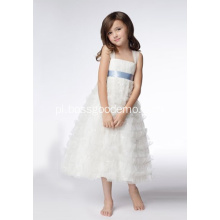 testA-line Szerokie ramiączka Tea-length Organza Cekiny Flower Girl Dresses