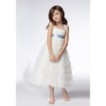 testA-line Wide Straps Tea-length Organza Sequin Flower Girl Dresses