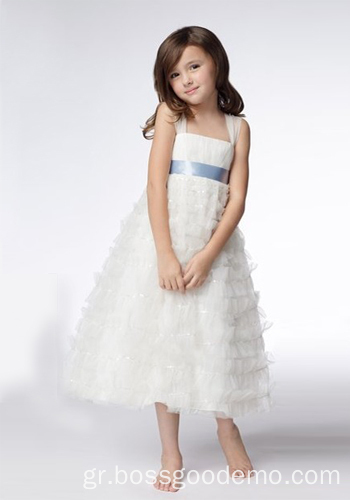 testA-line Wide Straps Τσάι Μήκος Organza Sequins Flower Girl Dresses