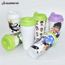Directly Factory New Arrival South American Hot Selling Sublimation Printing Plastic Mug avec couvercle