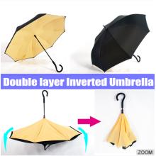 190T pongé inversé parapluie inversé avec poignée en forme de c
