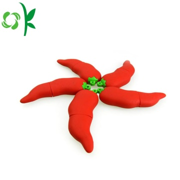 Cili Merah silikon USB Cover Flash Drive