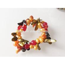 Bracelet en perle élastique avec perles et pierres précieuses