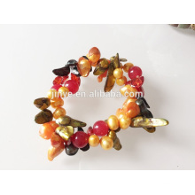 Elastic Pearl Gemstone Shell Beaded Bracelet