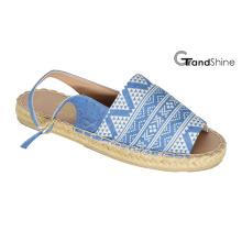 Women′s Fashion Peep-Toe Printed Canvas Flat Sandals