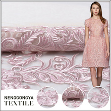 Made in China wholesale net pink allover embroidery flower fabric