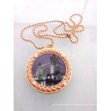Mini insignia redonda de oro con cadena (GZHY-KA-008)