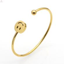 Moon Star quatre feuilles trèfle sourire rire en acier inoxydable bracelet manchette Bracelets
