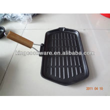 Cast Iron Rectangular Grill Pan with Detachable Handle