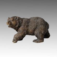 Tier Bronze Skulptur Braun Bär Handwerk Messing Statue Tpal-008