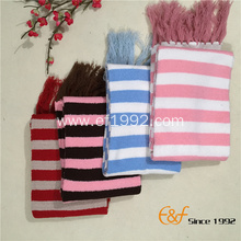 Girl Strip Tassels Long Knitted Scarf