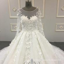 High Quality Super Puffy Wedding Dress 3D Flowers White Lace Long Sleeve 2018 Wedding Dress