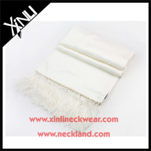 Blank Wholesale Long Fringes White Silk Scarves Wholesale