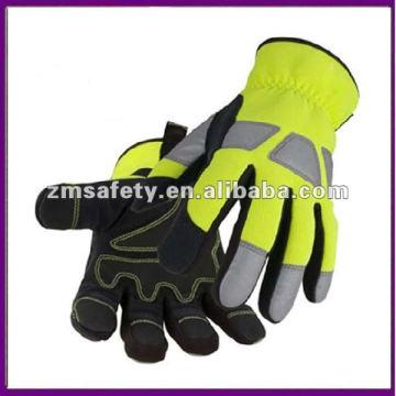Hi-Vis Öl und Gas Leder Mechaniker Handschuh ZMR413