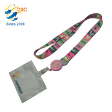 Love Pink Lanyard With PVC Student ID Card Holder For School Teenage Girl