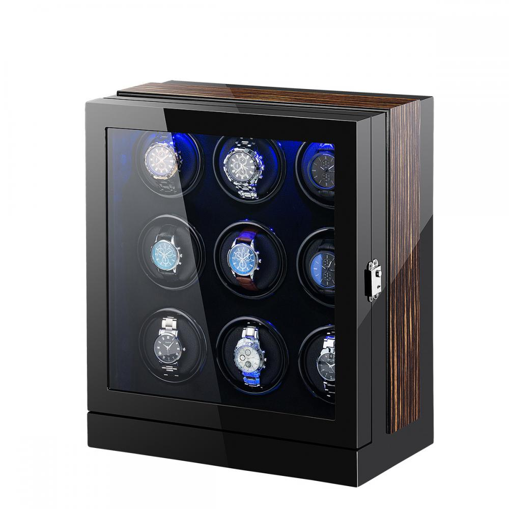 Ww 8204 Multi Rotors Black Watch Box With Led Light