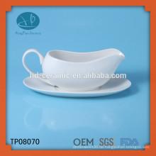 Keramik-Milch-Sahne mit Untertasse, weißes Porzellan-Milchglas, Soßeboot