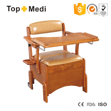Topmedi Medical Furniture Wooden Commode with Dinner Desk