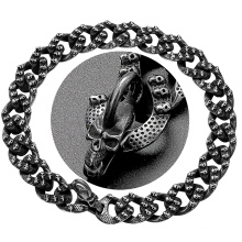 Custom Personality Chain Dog Collar Carving Cool Skulls Pattern Black Stainless Steel Link Chain 22mm Hip Hop Dog Chain