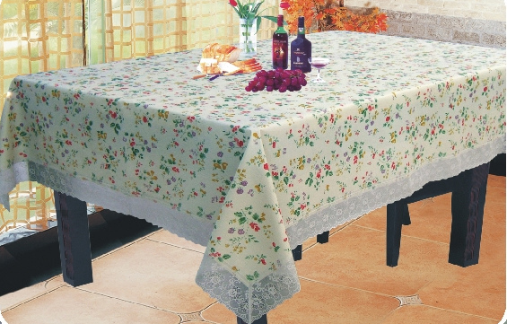 Pvc Flannel Back Table Cloth With 3 Lace