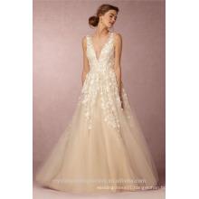 Latest Gowns Alibaba Elegant V Neck Flowers Champage White A Line Wedding Dresses Vestidos de Novia wtih Pearls LW253B