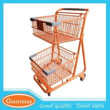 naranja polvo cubierto capas de remolque cesta cesta de la compra carrito