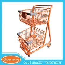 orange powder coated tow layers basket shopping wheel cart