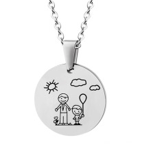 Stainless Steel Happy Family Father Son Round Pendant Jewelry Necklace