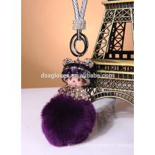Lovely Monchichi Key ring/ Monchichi Pendent key Chain With Pom