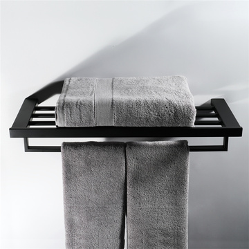 HIDEEP Stainless Steel Square Black Towel Rack