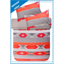 Red Patchwork Totems Printed Polyester Duvet Cover Set