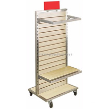 Free Standing Slatwall Wooden Backpack And Bags Hanging Display Rack, Movable Shirt Display Rack