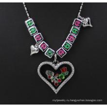 Подгонянные серебряные кулоны кристалла письма памяти очаровывают шкентель ожерелья стекла