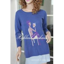 Pullover de gola Ladies com Intarsia