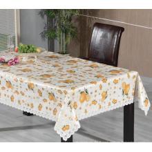 PVC bedruckte Tischdecke mit Spitzenbordüre (TJ0248)