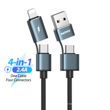 Remax   Braided Wiring Round Fishing Wires USB Type C To Type C 4 In 1 USB Charging Data Cable 1m