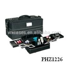 bolsa de belleza negra con 4 bandejas extraíbles interior fabricante