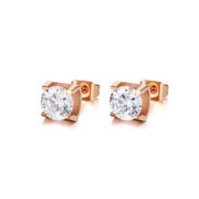 Розовое золото серьги шпильки,из нержавеющей стали прозрачный кристалл уха шпильки ювелирные изделия