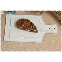 Placa de pizza plana de porcelana branca barata e ecológica com alça