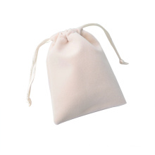 Personalized printed logo Drawstring Reusable colorful jewelry bag white velvet jewelry pouch
